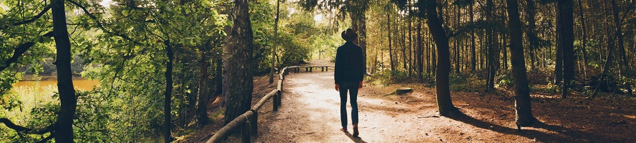 Man walking on trail in forest