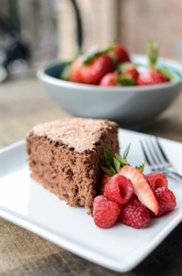 Chocolate Angel Food Cake with Berries